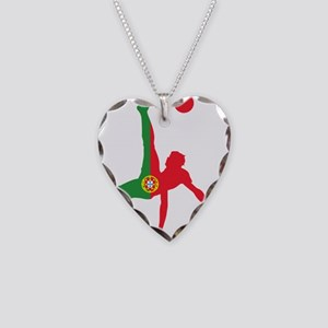 Portugal Soccer Necklace Heart Charm