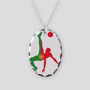 Portugal Soccer Necklace Oval Charm
