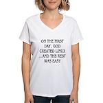 God created Linux Women's V-Neck T-Shirt