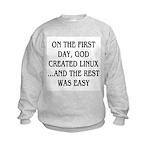 God created Linux Kids Sweatshirt