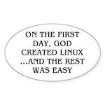 God created Linux Sticker (Oval)