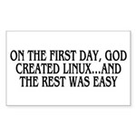 God created Linux Sticker (Rectangle)
