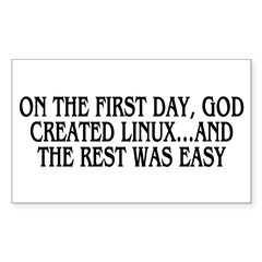 God created Linux Sticker (Rectangle 10 pk)
