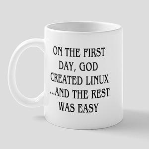 God created Linux Mug