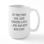 God created Linux Large Mug