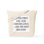 God created Linux Tote Bag