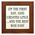 God created Linux Framed Tile