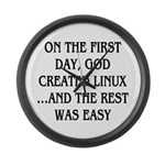 God created Linux Large Wall Clock