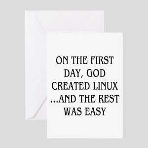 God created Linux Greeting Card
