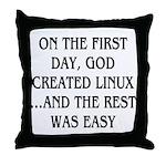 God created Linux Throw Pillow