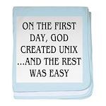 God created UNIX baby blanket