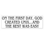 God created UNIX Sticker (Bumper)