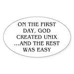 God created UNIX Sticker (Oval 10 pk)