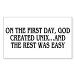 God created UNIX Sticker (Rectangle)