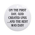 God created UNIX Ornament (Round)