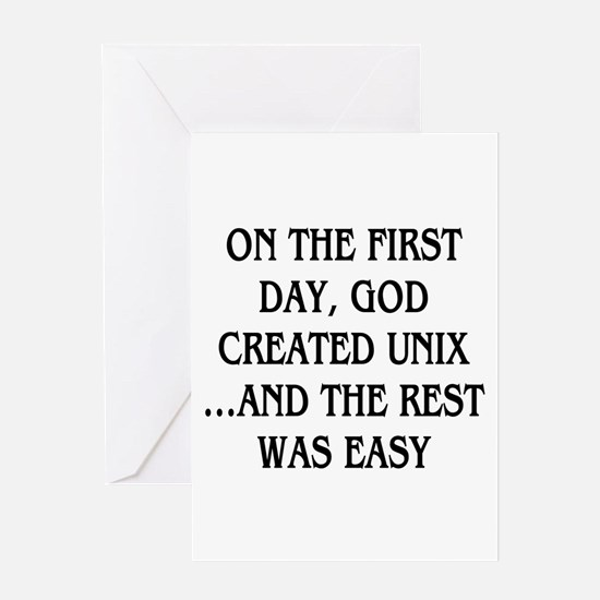 God created UNIX Greeting Card