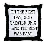 God created UNIX Throw Pillow