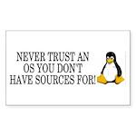 Never trust an OS Sticker (Rectangle)