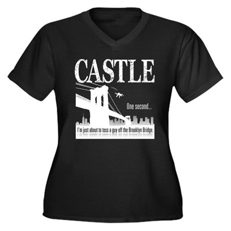 Castle Bridge Toss Women's Plus Size V-Neck Dark T