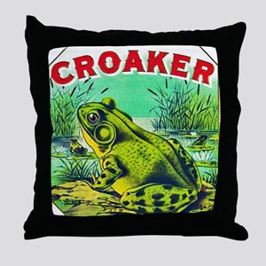Croaker Frog Cigar Label Throw Pillow