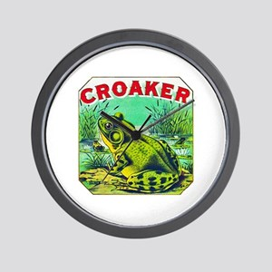 Croaker Frog Cigar Label Wall Clock
