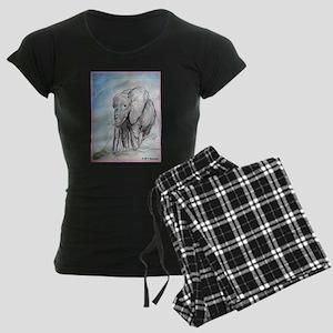 Elephant, wildlife art, Women's Dark Pajamas