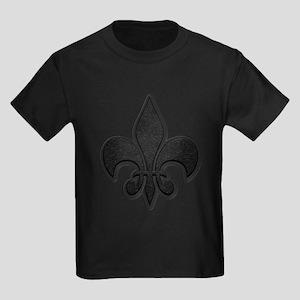Saints Black Grey Fleur Kids Dark T-Shirt