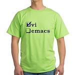 vi vs emacs -- vi Green T-Shirt