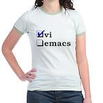 vi vs emacs -- vi Jr. Ringer T-Shirt