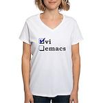 vi vs emacs -- vi Women's V-Neck T-Shirt