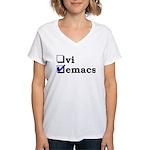 vi vs emacs -- emacs Women's V-Neck T-Shirt