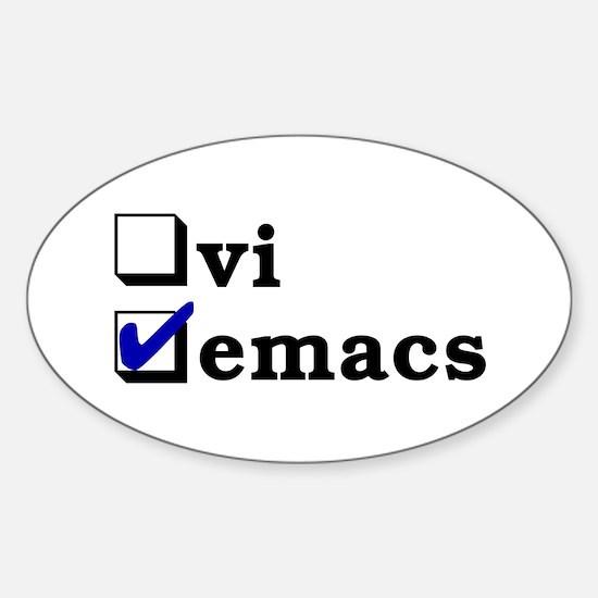 vi vs emacs -- emacs Sticker (Oval)