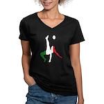 Italy Soccer Women's V-Neck Dark T-Shirt