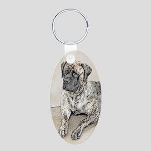 English Mastiff (Brindle) Aluminum Oval Keychain