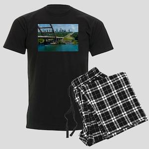 Austin Texas Skyline Bridge Men's Dark Pajamas