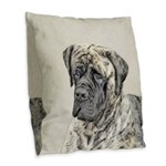 English Mastiff (Brindle) Burlap Throw Pillow