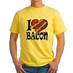 I Love Bacon Yellow T-Shirt