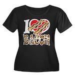 I Love Bacon Women's Plus Size Scoop Neck Dark T-S
