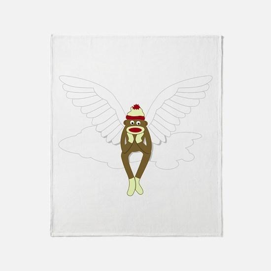 Sock Monkey Guardian Angel Throw Blanket