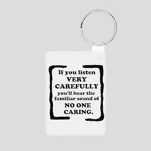 No One Caring Aluminum Photo Keychain