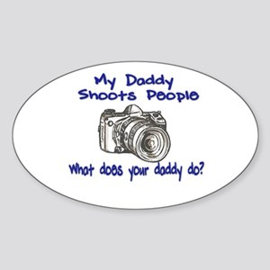 My Daddy Shoots- Blue Sticker (Oval)