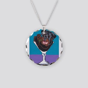 Rottweiler Martini Necklace Circle Charm