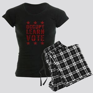 occupy learn vote red Women's Dark Pajamas