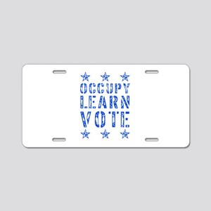 occupy learn vote blue Aluminum License Plate