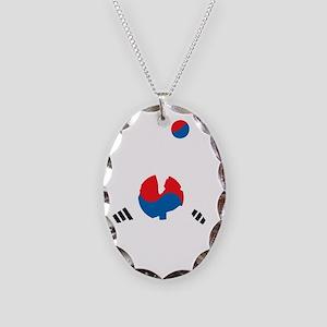 South Korea Soccer Necklace Oval Charm