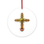 Skull Gold Cross Ornament (Round)