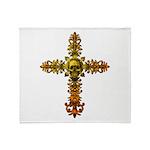 Skull Gold Cross Throw Blanket