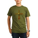 Skull Gold Cross Organic Men's T-Shirt (dark)