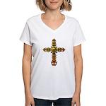 Skull Gold Cross Women's V-Neck T-Shirt