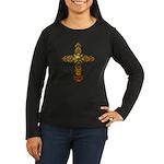 Skull Gold Cross Women's Long Sleeve Dark T-Shirt